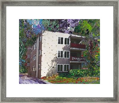 Framed Print featuring the painting Alameda 1964 Apartment Architecture   by Linda Weinstock
