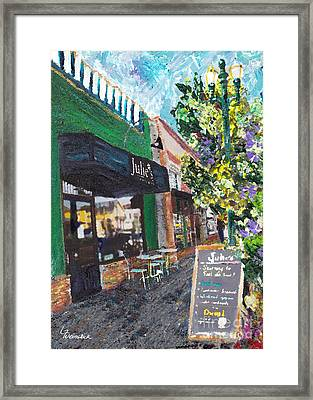 Alameda Julie's Coffee N Tea Garden Framed Print by Linda Weinstock