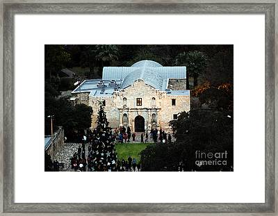 Alamo Entrance High Angle View At Christmas In San Antonio Texas Watercolor Digital Art Framed Print by Shawn O'Brien