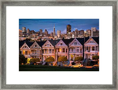 Alamo Square - Painted Ladies Framed Print by Alexis Birkill