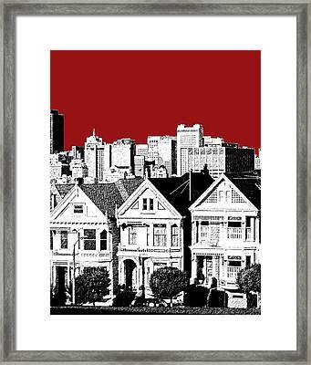 San Francisco Skyline Alamo Square - Dk Red Framed Print by DB Artist