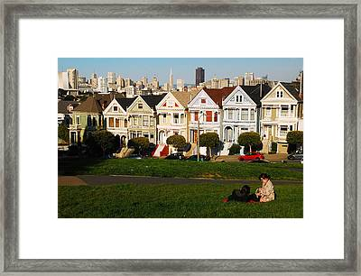 Framed Print featuring the photograph Alamo Square San Francisco by James Kirkikis
