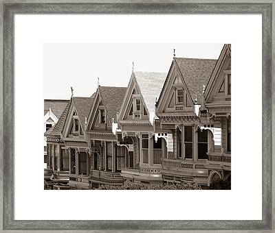 Framed Print featuring the photograph Alamo Square - Victorian Painted Ladies 2009 by Connie Fox