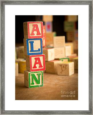 Alan - Alphabet Blocks Framed Print by Edward Fielding