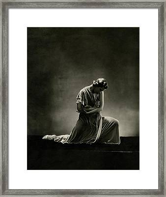 Alanova Kneeling In A Dress Framed Print