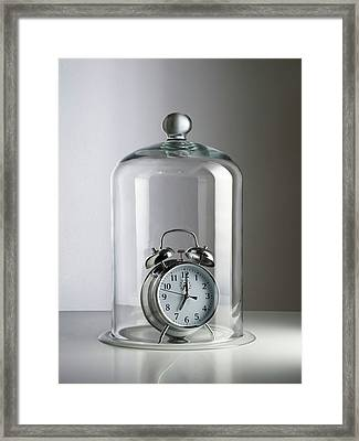 Alarm Clock Inside A Bell Jar Framed Print