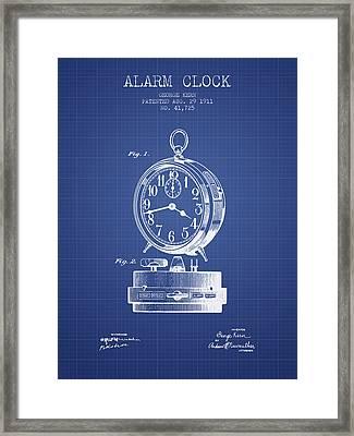 Alarm Clock Patent From 1911 - Blueprint Framed Print