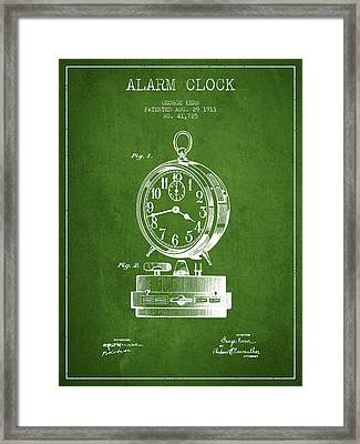 Alarm Clock Patent From 1911 - Green Framed Print