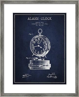 Alarm Clock Patent From 1911 - Navy Blue Framed Print