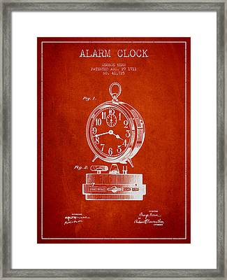Alarm Clock Patent From 1911 - Red Framed Print