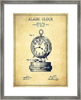 Alarm Clock Patent From 1911 - Vintage Framed Print