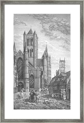 Alarming Morning In Ghent. The Left Part Of The Triptych - The Age Of Cathedrals Framed Print
