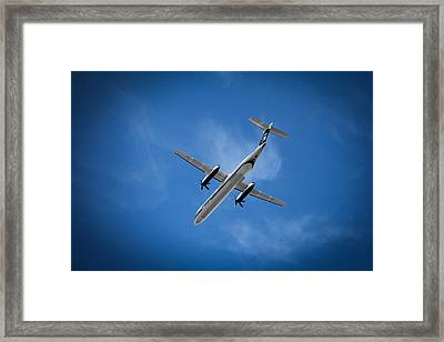 Blue Framed Print featuring the photograph Alaska Airlines Turboprop by Aaron Berg