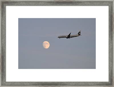 Alaska Airplane Meets The Moon Framed Print
