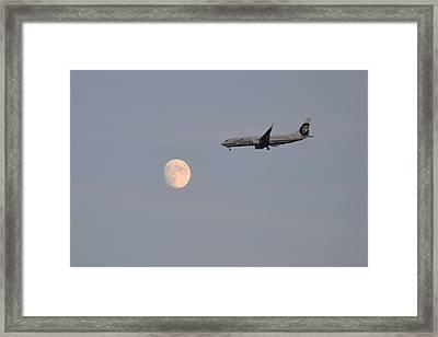 Alaska Airplane Meets The Moon Framed Print by Kelly Reber