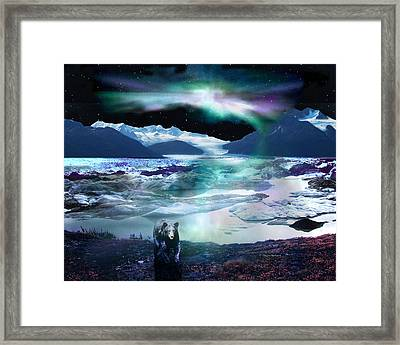 Alaska Aurora Knik Glacier Bear Framed Print by Dianne Roberson