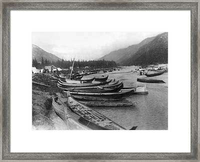 Framed Print featuring the photograph Alaska Canoes, C1897 by Granger