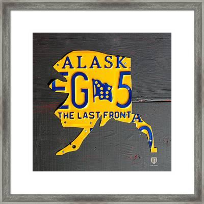Alaska License Plate Map Artwork Framed Print