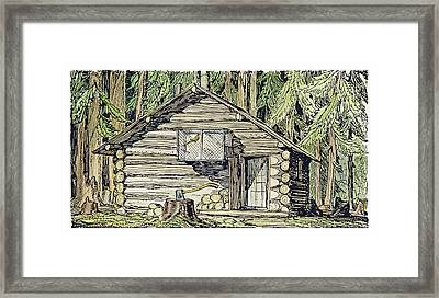 Alaska Log Cabin, 1920 Framed Print