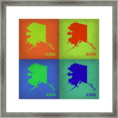 Alaska Pop Art Map 1 Framed Print by Naxart Studio