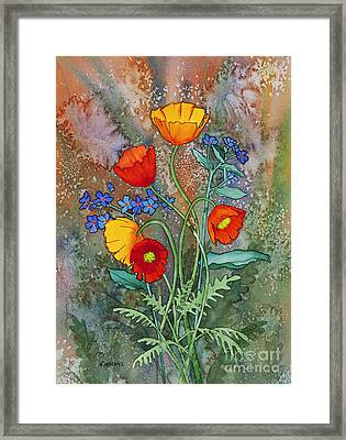 Alaska Poppies And Forgetmenots Framed Print by Teresa Ascone