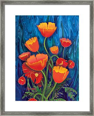Framed Print featuring the mixed media Alaska Poppies by Teresa Ascone