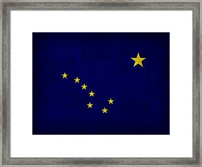 Alaska State Flag Art On Worn Canvas Framed Print by Design Turnpike