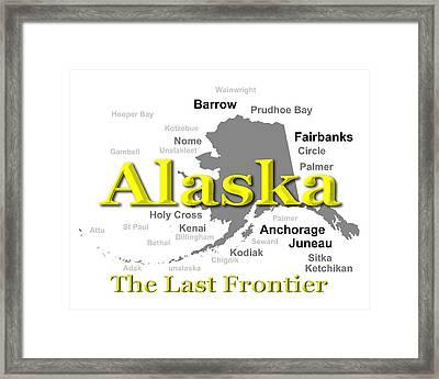 Alaska State Pride Map Silhouette  Framed Print by Keith Webber Jr