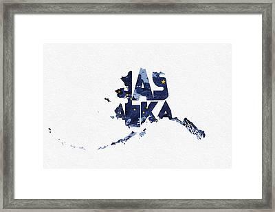 Alaska Typographic Map Flag Framed Print by Ayse Deniz
