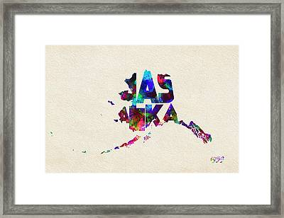 Alaska Typographic Watercolor Map Framed Print by Ayse Deniz