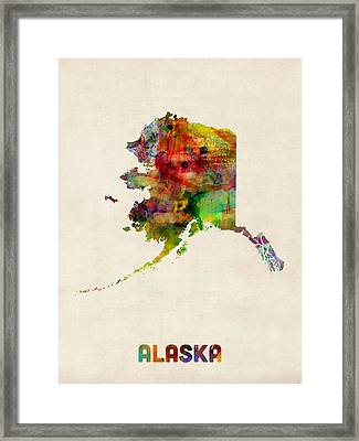Alaska Watercolor Map Framed Print by Michael Tompsett
