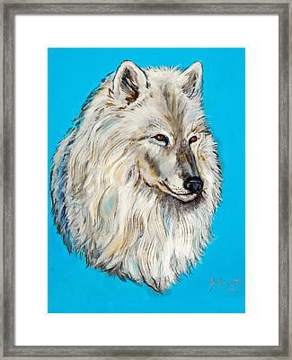 Framed Print featuring the painting Alaska White Wolf by Bob and Nadine Johnston