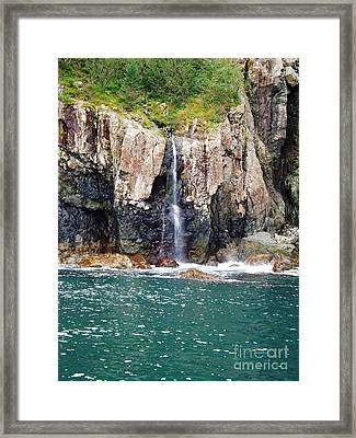 Alaskan Waterfall In The Spring Framed Print