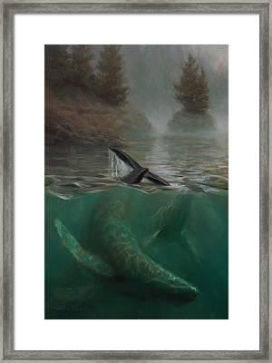 Humpback Whales - Underwater Marine - Coastal Alaska Scenery Framed Print by Karen Whitworth