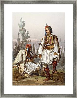 Albanians, 1865 Framed Print by Amadeo Preziosi