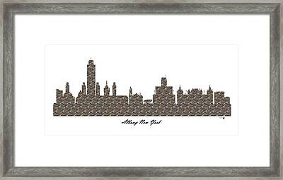 Albany New York 3d Stone Wall Skyline Framed Print