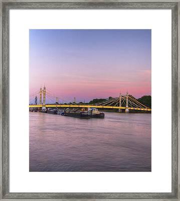 Albert Bridge London Thames At Night Dusk Framed Print by David French