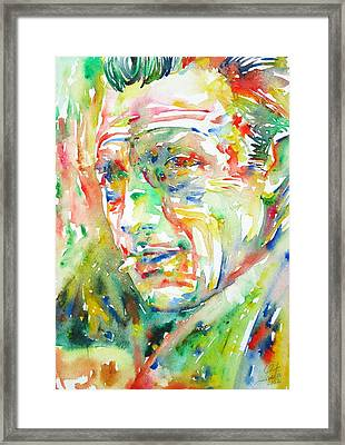 Albert Camus Watercolor Portrait Framed Print by Fabrizio Cassetta