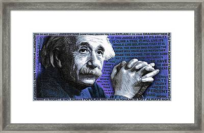 Albert Einstein And Quotes Blue Framed Print by Tony Rubino