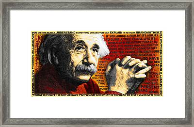Albert Einstein And Quotes Gold And Red Framed Print by Tony Rubino