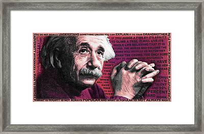 Albert Einstein And Quotes Red Framed Print by Tony Rubino