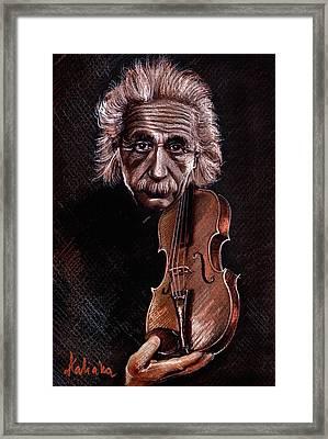 Albert Einstein And Violin Framed Print