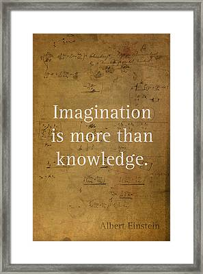 Albert Einstein Quote Imagination Science Math Inspirational Words On Worn Canvas With Formula Framed Print by Design Turnpike