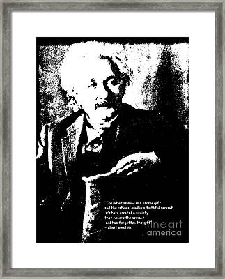 Albert Einstein Quote - Intuition - 1931 Litho Framed Print by Padre Art