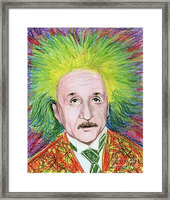 Framed Print featuring the drawing Albert Einstein by Yoshiko Mishina