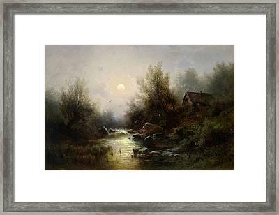 River Landscape  Moonlit Night Near Brixen Framed Print