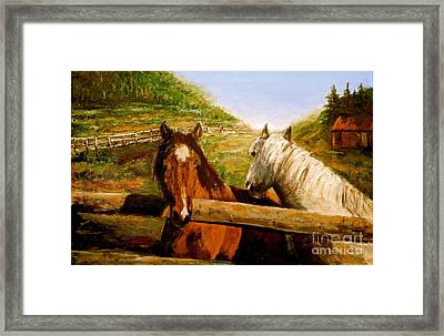 Framed Print featuring the painting Alberta Horse Farm by Sher Nasser