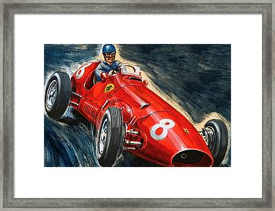 Alberto Ascari Driving A Maserati Framed Print by English School