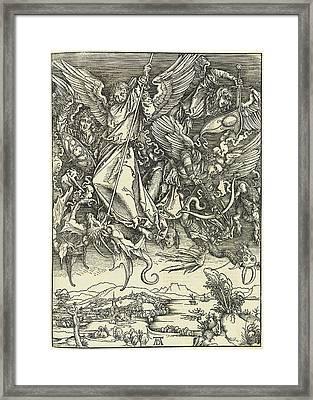 Albrecht Dürer, Saint Michael Fighting The Dragon Framed Print by Quint Lox