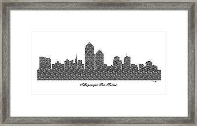 Albuquerque New Mexico 3d Bw Stone Wall Skyline Framed Print